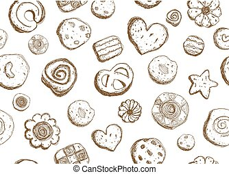 Hand drawn cookies pattern seamless design on white background vector illustration