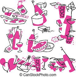 Hand drawn cooking doodles. Vector illustration cartoon.