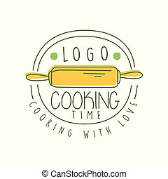 Hand drawn cooking with love logo original design with yellow rolling-pin and lettering. Creative line label for homemade food, culinary school, cafe. Vector on white.