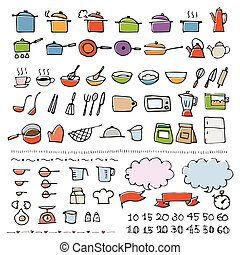 Hand drawn cookware sketch icon