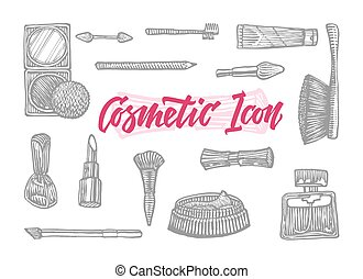 Hand Drawn Cosmetic Icons Set