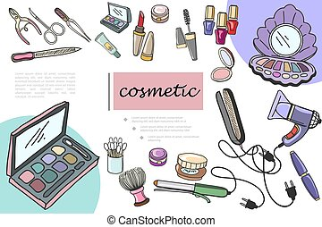 Hand Drawn Cosmetic Products Composition - Hand drawn ...
