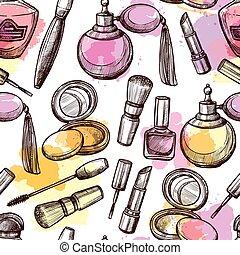 Hand Drawn Cosmetics Seamless Pattern