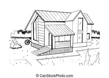 Hand drawn cottage. modern private residential house. black and white sketch illustration.