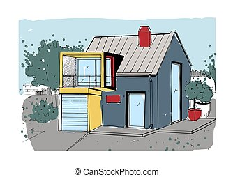 Hand drawn cottage. modern private residential house. colorful sketch illustration.