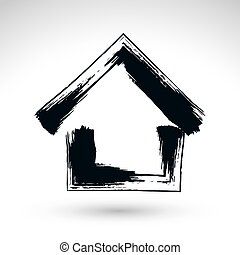 Hand drawn country house icon, estate logotype, simple ...