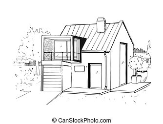 Hand drawn country house. modern private residential house. black and white sketch illustration.