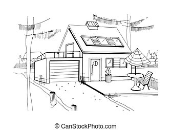 Hand drawn country house. modern private residential house with garage. black and white sketch illustration.