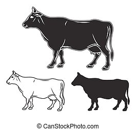 Hand drawn cow set. Vector illustration