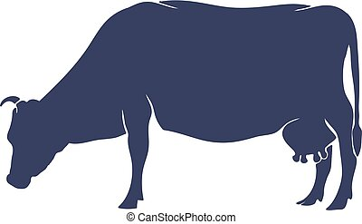 Hand Drawn Cow Silhouette isolated on White background. Vector