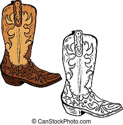 Hand drawn Cowboy boots illustration. Design element for poster,