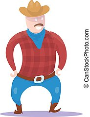 Hand Drawn Cowboy Character isolated on white background. Vector