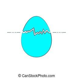 Hand-drawn cracked easter egg