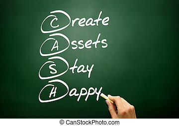 Hand drawn Create Assets Stay Happy (CASH), business concept...