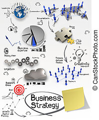 hand drawn creative business strategy on crumpled paper background and sticky note as concept