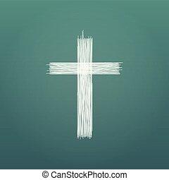 Hand drawn cross. Grunge cross. Cross made with pencil. Line...