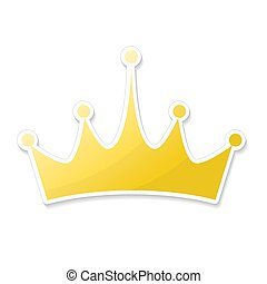 Hand drawn crown logo and icon in cartoon style, stock vector illustration