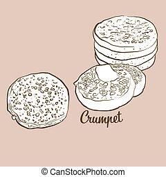 Hand-drawn Crumpet bread illustration. Flatbread, usually ...