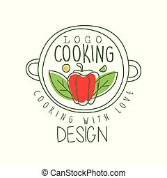 Hand drawn culinary logo design with pepper in a pan and cooking with love lettering. Creative line label for cafe, food delivery, restaurant. Vector on white.