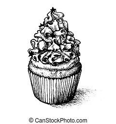 Hand drawn cupcake set  for coloring book