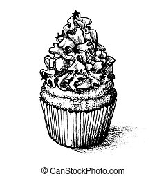 Hand drawn cupcake set  for coloring book