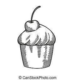 Hand drawn cupcake sketch