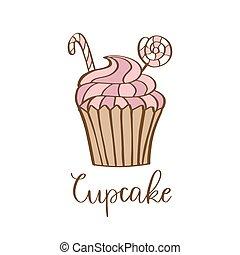 Hand drawn cupcake vector illustration. Icon symbol