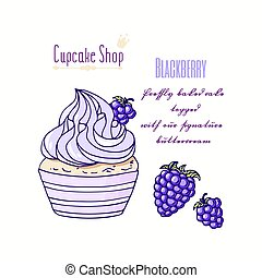 Hand drawn cupcake with doodle buttercream for pastry shop menu. Blackberry flavor
