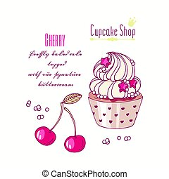 Hand drawn cupcake with doodle buttercream for pastry shop...