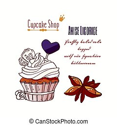 Hand drawn cupcake with stars of anise, licorice candy and...