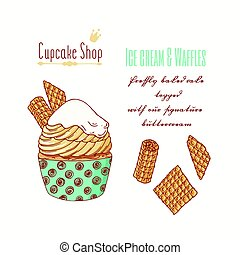 Hand drawn cupcake with waffles and doodle buttercream for...