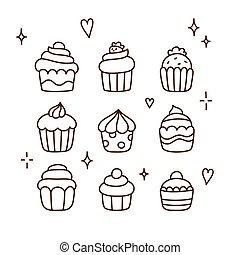 Hand drawn cupcakes