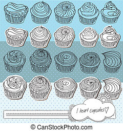 Hand drawn cupcakes with cute banner design