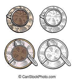 Cups with hot coffee - hand drawn. Cups with hot coffee, tea...