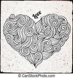 Hand drawn curled vector heart - Hand drawn decorative ...