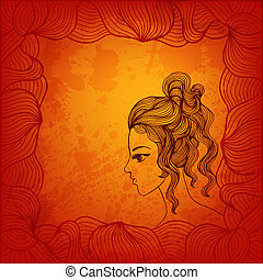 Hand drawn curly girl. Vector illustration for Your design