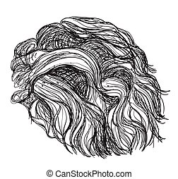 Hand drawn curly hair. Services in hair care. Logo for...