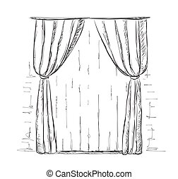 Hand drawn curtains sketch.