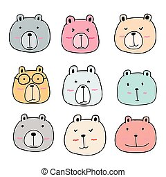 Hand Drawn Cute Bear Characters Set.