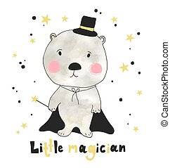 Hand drawn cute bear with hand drawn lettering little magician. Can be used for t-shirt design.