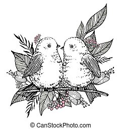 Hand Drawn cute birds, flowers and leaves. Vector
