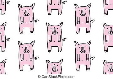 Hand drawn cute cartoon pigs. Doodle seamless pattern for kids isolated on white background.