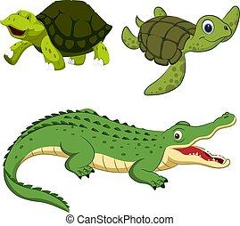 Hand-drawn cute cartoon reptiles. Vector illustration.