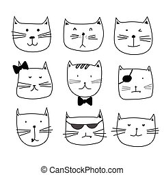 Hand Drawn Cute Cat Characters Set.