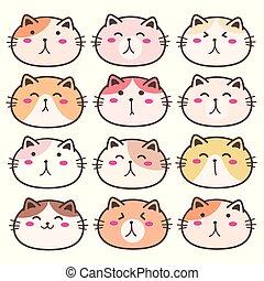 Hand Drawn Cute Cat Characters Set. Vector Illustration.