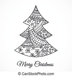 Hand drawn cute Christmas tree with doodles