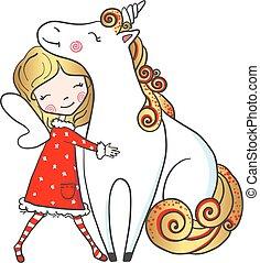 Hand drawn Cute Fairy girl hugging unicorn.
