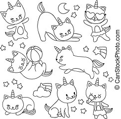 Hand Drawn Cute Flying Unicorn Cats Vector Cartoon Characters For Kids Coloring Book
