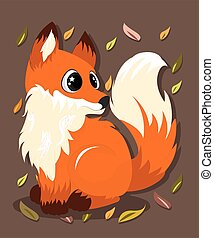 Hand Drawn Cute Fox Vector Illustration