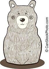 Hand drawn cute isolated bear vector illustration